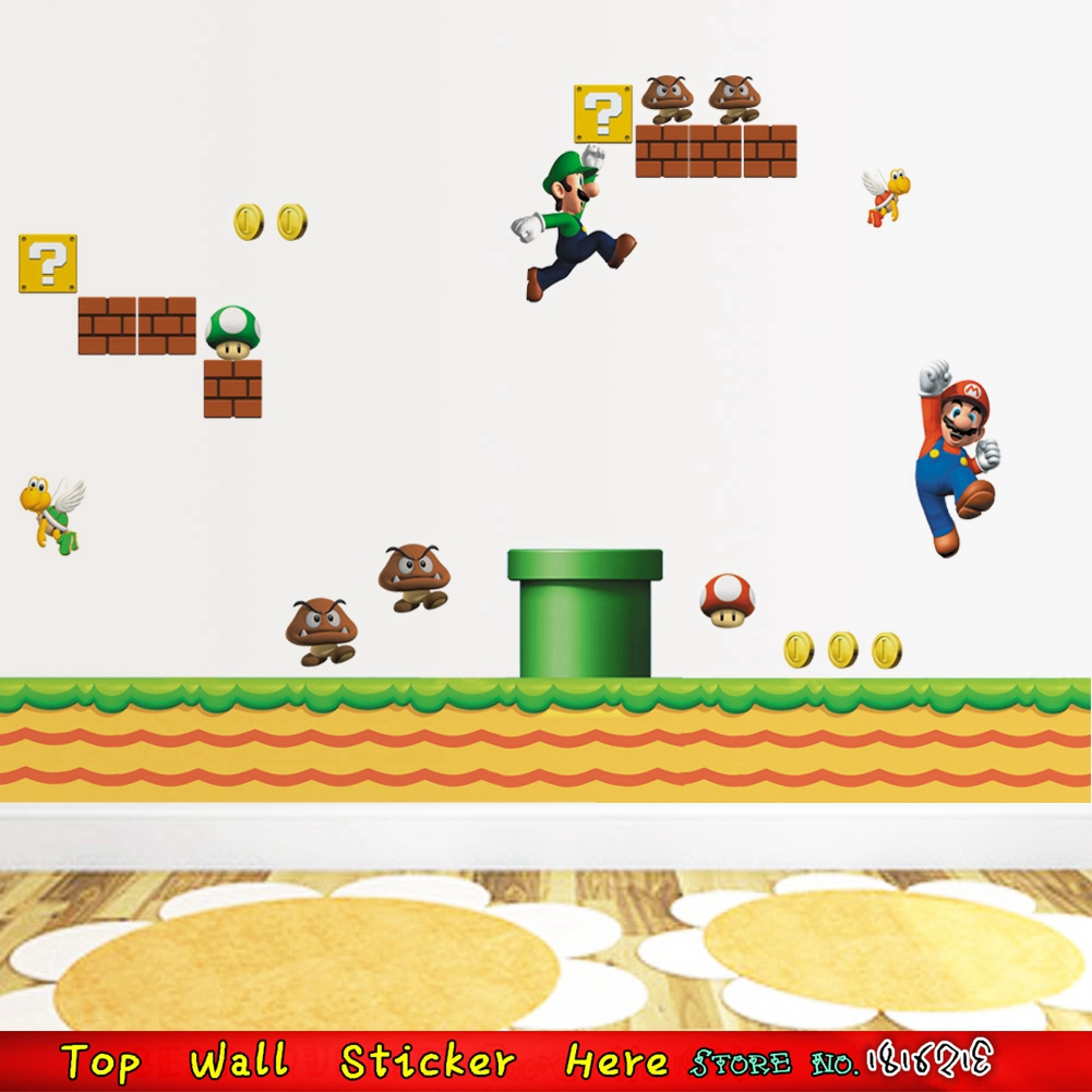 Hot sale game cartoon super mario wall sticker for boys for Stickers para pared decorativos