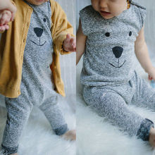 Cartoon Bear Knit Sleeveless Romper