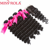 Miss Rola Hair Peruvian Pre Colored Deep Wave 4 Bundles With Closure 100% Human Hair Extensions Natural Black Color Non Remy