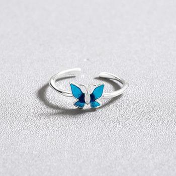 CHENGXUN Delicate Blue Butterfly Rings for Women Lady Finger Rings Opening Design Femme Bijoux Bague Elegant Style Gift 1