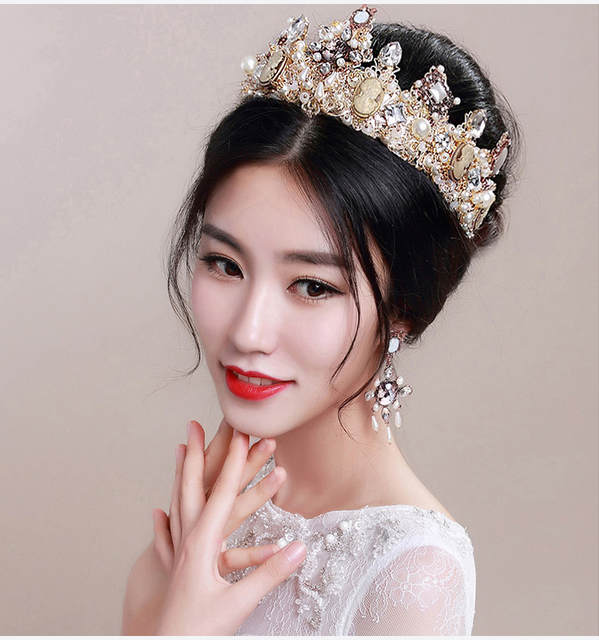 1 pieces Bridal Gold Crown Earring hair Accessories