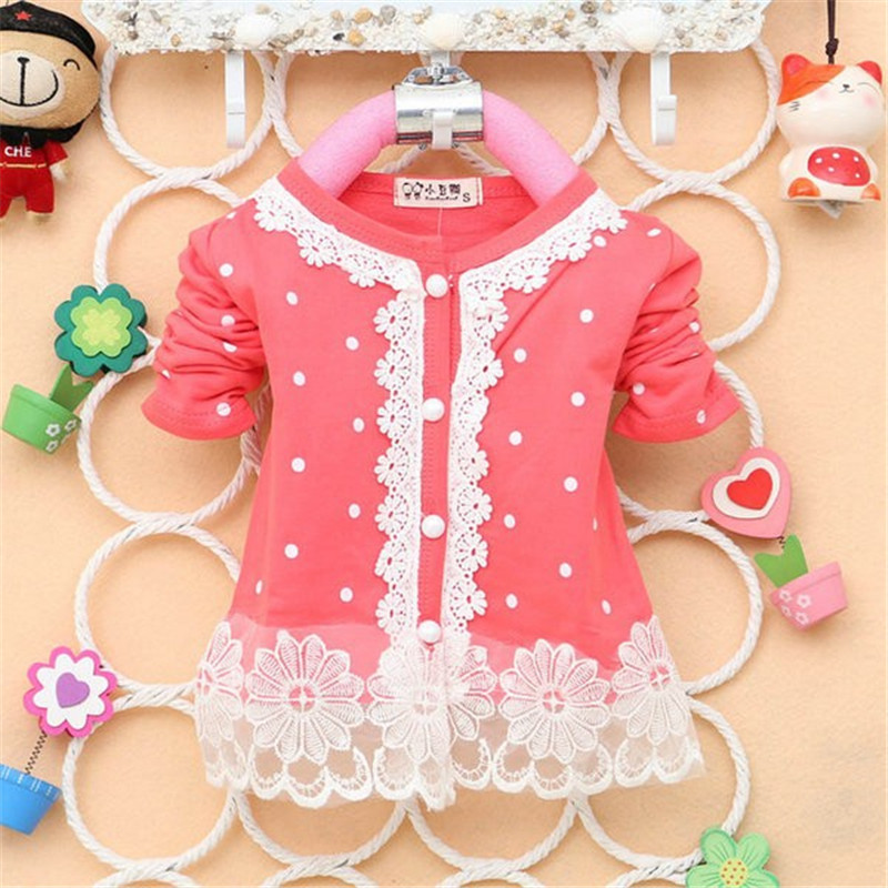 2017 New Spring Autumn Fashion Baby Girls Nice Lace Cotton Long-Sleeved O-Neck Coat Dot Cardigan
