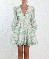 Women Whitewave Floral Dress Long Bell Sleeves Deep V neck Whitewave Honeymooners Mini Dress