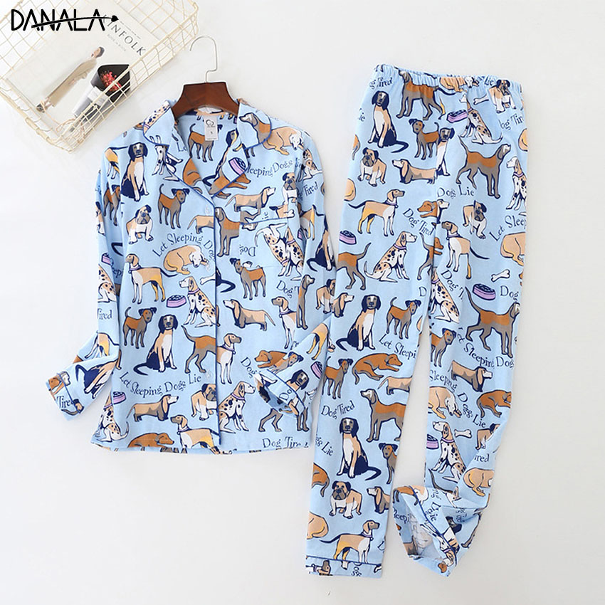 DANALA Cute Cartoon 100% Cotton Pyjamas Women   Pajamas     Sets   Autumn 100% Brushed Cotton Winter Warm Women Sleepwear Pijamas Mujer