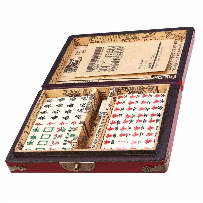 144 Mah-Jong Set drôle chinois traditionnel Mahjong jeux de cartes anti-Stress jouets Portable avec boîte pour la famille de fête