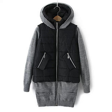 Winter Jacket Women 2016 New Fashion Down Coat Knitted Sleeve Hooded Outerwear Female Winter Jackets Black Cotton Coats HQT099