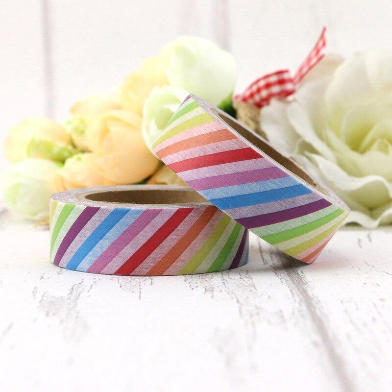 1pcs  Rainbow Colorful Stripes Washi Tape Decorative Tape Papelaria Label Masking Sticker Tape