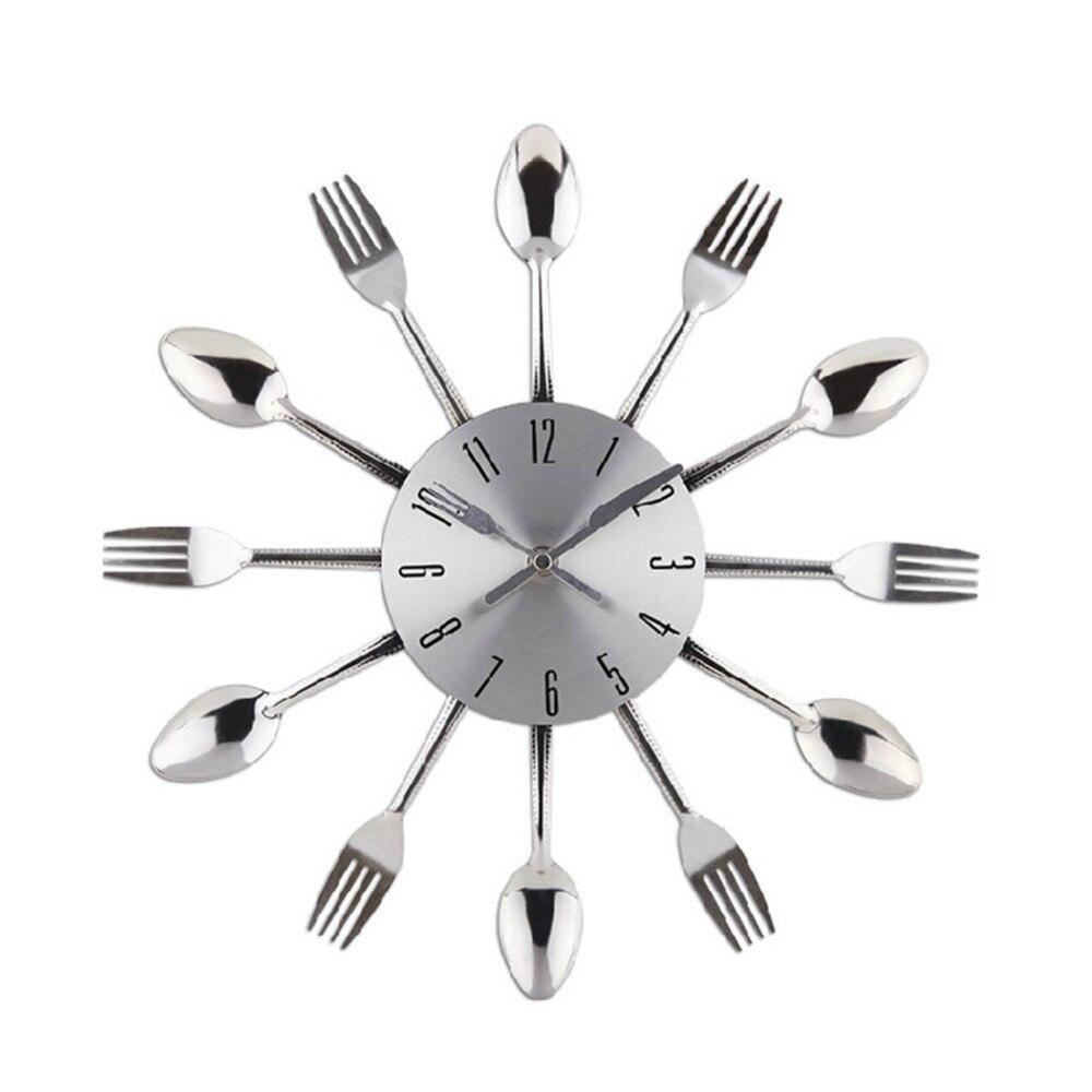 vendita calda design moderno posate utensile da cucina orologio da parete cucchiaio forchetta orologio del nastro