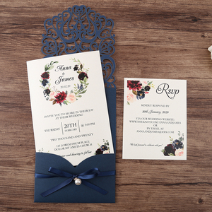 Image 4 - 50pcs Navy blue New Arrival Horizontal Laser Cut Wedding Invitations with RSVP card,pearl ribbon,CW25001B,Customizable