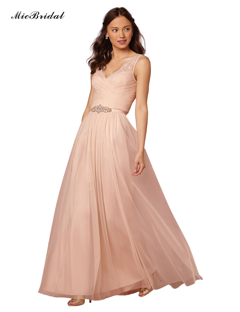 0de1c26487af QQ 003 High Quality V Open Back Print Chiffon Lace Long Peach Color  Bridesmaid Dress-in Bridesmaid Dresses from Weddings   Events on  Aliexpress.com ...
