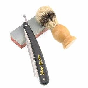 Image 4 - Golenie złoty dolar prosto Razor zestaw męska włosia szczotka do włosów skóra ostrzenie Strop Oilstone fryzjer golenie broda zestaw