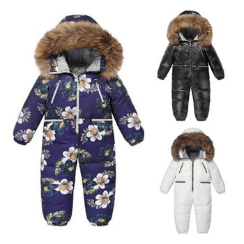 5-10 Y Kids Coats Winter Girl Plus Size Jacket Kid snowsuit Hoodie fur down jacket for girls boys shiny waterproof flower coat