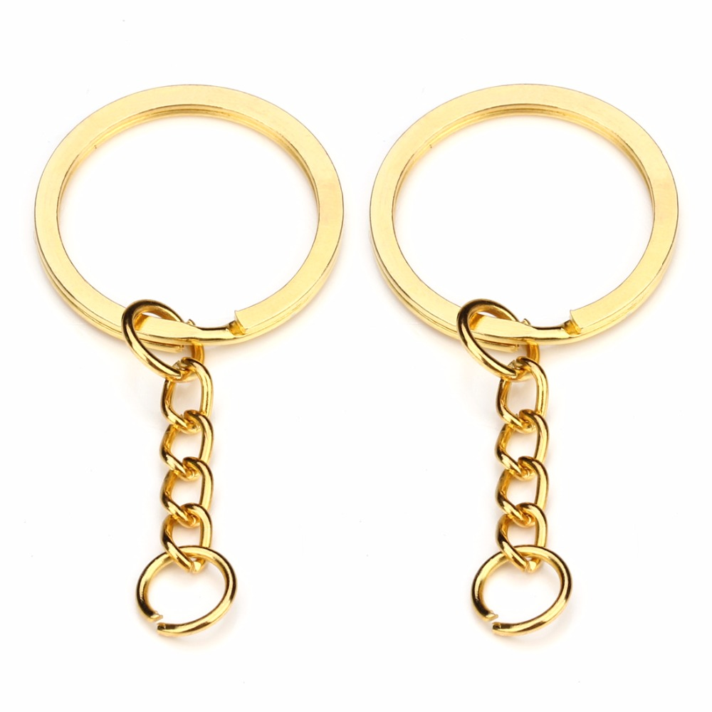 28mm BronzeGold Silver Color Keyring Keychain Split Ring With Short Chain Key Rings Women Men DIY Key Chains Accessories