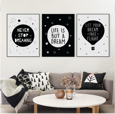 aliexpresscom buy modern black white motivational typography dream quotes art print poster wall picture kids room home decor painting no frame from