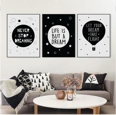 Mūsdienu melnbalta motivējoša tipogrāfija Sapņu citāti Mākslas - Mājas dekors