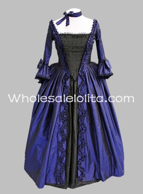 Одежда с длинным рукавом синий и черный сатин готический, викторианской эпохи платье - Цвет: blue and black