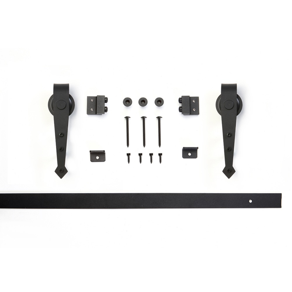 3.3 Ft High Cost Effective Black Carbon Steel Real Mini Flat Track Barn Door Hardware For Kitchen Bathroom Cabinet Door