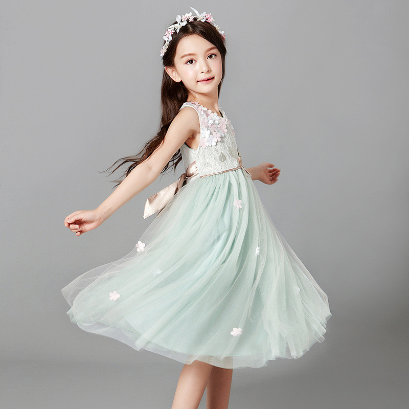 Nicoevaropa   Flower     Girls     Dresses   Junior Children Lace   Dresses   with Princess   Flowers   Summer and Autumn Top Quality Kids Clothes