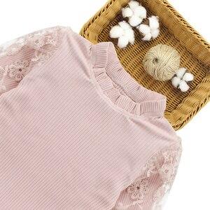 Image 3 - בנות בגדי פסים בגדי ילדים חליפות תחרה חולצה + חצאית 2pcs נער בגדי ילדי ערכות בגדים עבור 6 8 10 12 13 14
