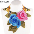 VIVILADY Bohemian Bridal Accessory Handmade Flower Leaf Lace Chokers Maxi Bib Necklaces Collar Women Statement Bijoux Party Gift