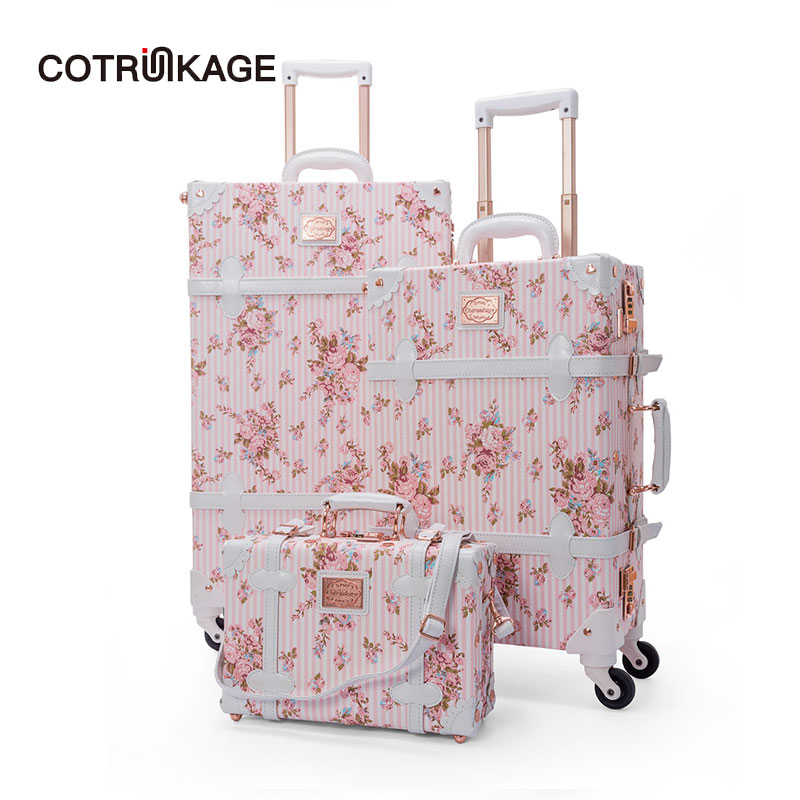 COTRUNKAGE 13 20 26 Pink Floral Travel Trunk Suitcase Ladies Pu Leather 3 Piece Womens Vintage Luggage Sets with WheelsCOTRUNKAGE 13 20 26 Pink Floral Travel Trunk Suitcase Ladies Pu Leather 3 Piece Womens Vintage Luggage Sets with Wheels