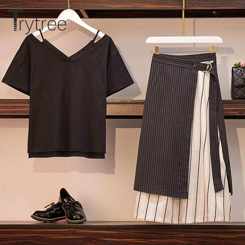 Trytree Summer Autumn Women two piece set Casual V neck Tops Skirt Patchwork Striped Belt Suit Set Office Lady 2 Piece Set in Women 39 s Sets from Women 39 s Clothing