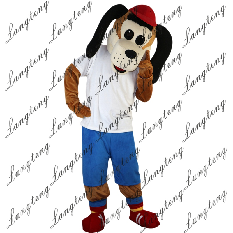 2018 New Hot Sale Sport Dog Mascot Costume Adult Size Halloween Outfit Fancy Dress Suit Free Shipping