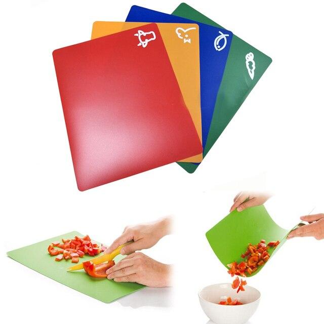 4 PCS Classification Chopping Block PP Anti-slip Rectangle Cutting Board 1