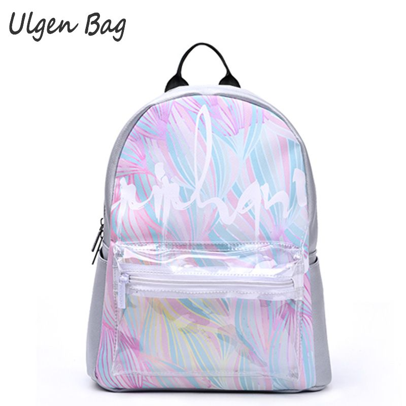 Fashion Women's Rainbow Colorful Hologram Backpacks Laser Silver Color Holographic Mirror Mini Shoulder Bags clear front pocket