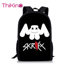 Thikin cool mask DJ Marshmellow School Backpack Smiling Face School Supplies for Boys Girls Teenager School Book Bag цена
