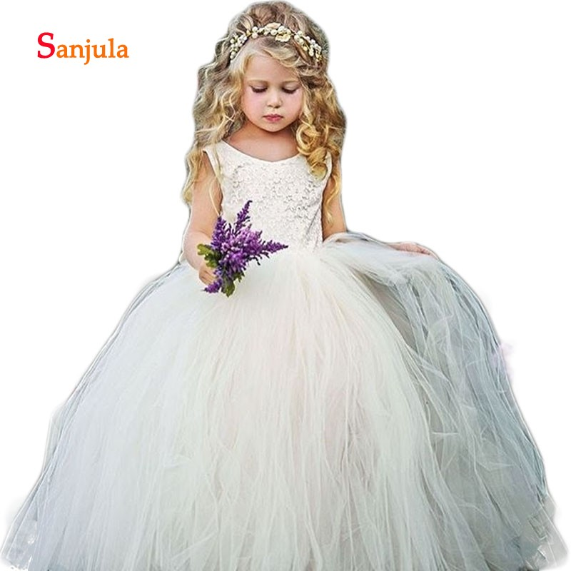 Puffy Tulle Ball Gown   Flower     Girls     Dresses   Vintage Lace Wedding Party   Dresses   Open Back Commnuion Gowns robe mariage fille D98