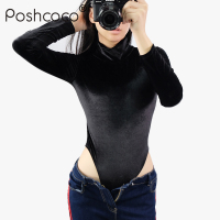 Poshcoco Brand Slim Sexy Velvet Turtleneck Women Skinny Bodysuits 2017 New Autumn Winter Long Sleeve Black