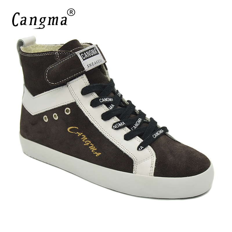 CANGMA Luxury Women Boots Handmade Fashion Shoes Grey Genuine Leather Sneakers Casual Shoes Girl Cow Suede Footwear Boots Female