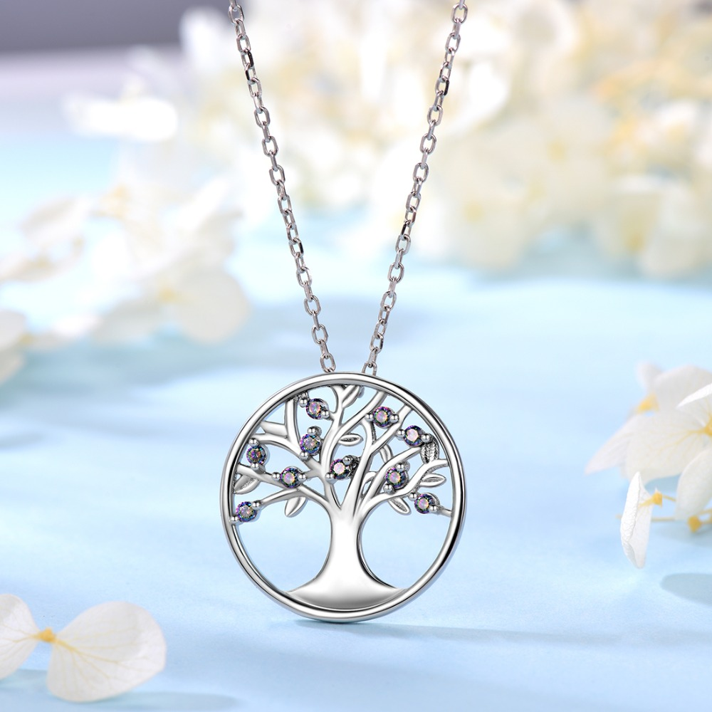 Image 4 - U7 100% 925 Sterling Silver Tree Of Life Round Pendant