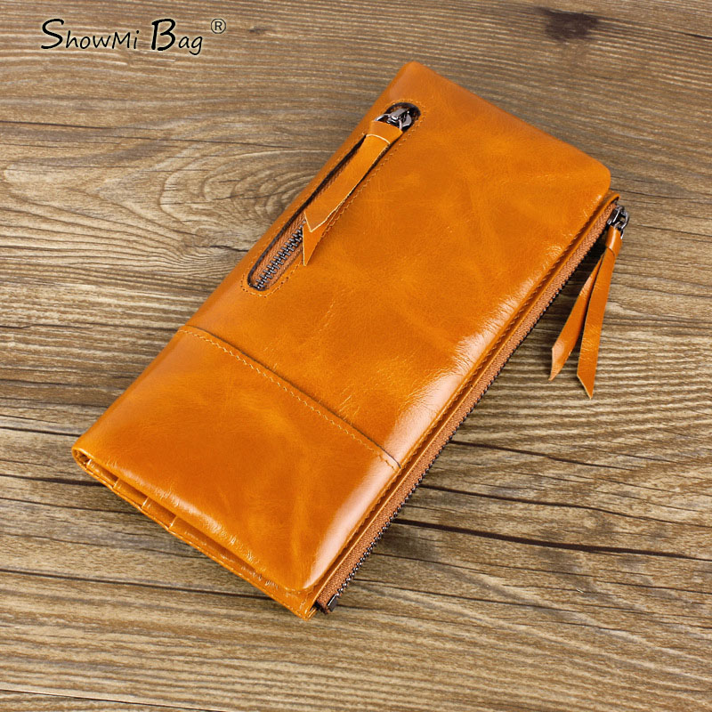 ФОТО ShowMi Bags Luxury Brand Women Wallets Long Real Leather Card Holder Cell Phone Cowhide Real Leather Women Zipper Purse