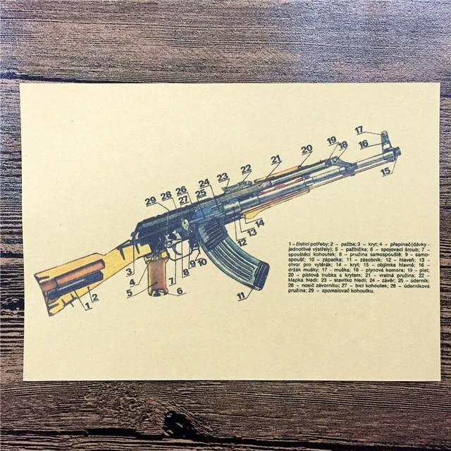 New Arrival Fw 061 Retro Vintage Poster Kraft Paper Ak 47 Gun