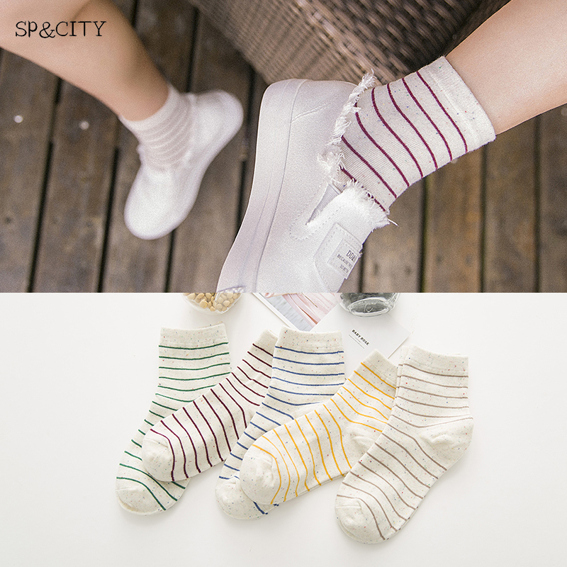 Hipster Classic Striped Patterned Short   Socks   Fashion Casual Sporty Cute Cotton   Socks   Low Sox Women Funny Art Ankle   Socks   Female