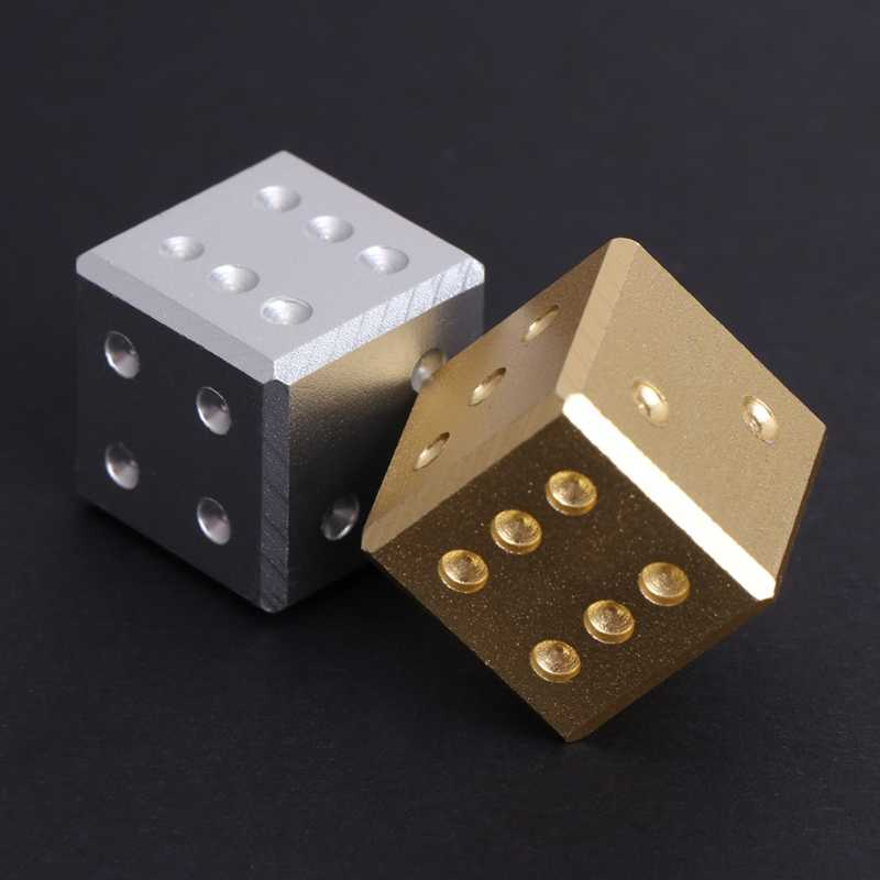 Metal Dice Goud Zilver Pure Kleur Aluminium Club Bar Drinken Playing Game Tool 16mm