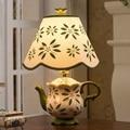 Modern Creative Fashion Colorful Chinese Ceramic Tea Pot Led E27 Table Lamp for Living Room Bedroom Bar Decor H 39cm 1755