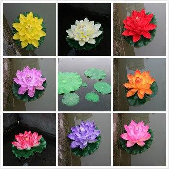 1 Uds flor de loto flotante Artificial adornos de fiesta doméstica DIY agua lirio Mariage plantas falsas
