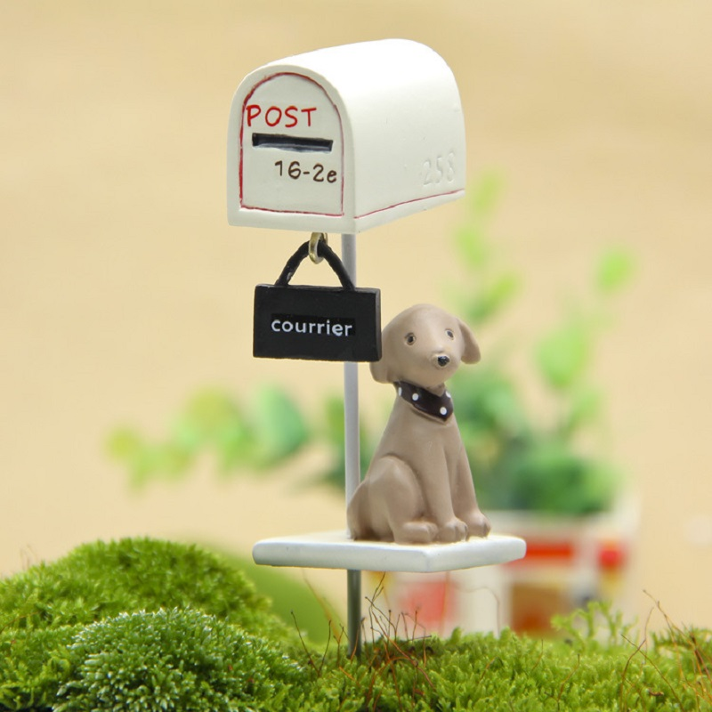 Hot Sales New Groceries Puppy Mailbox House Vase Props Resin Action Figures Toys DIY Micro Garden Landscape Decoration Props