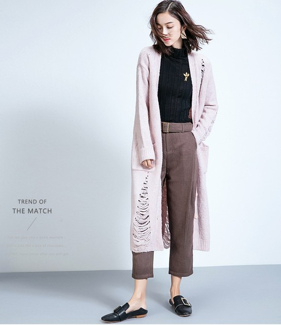 runway designer womens light pink oversized knitted cardigan warm ...