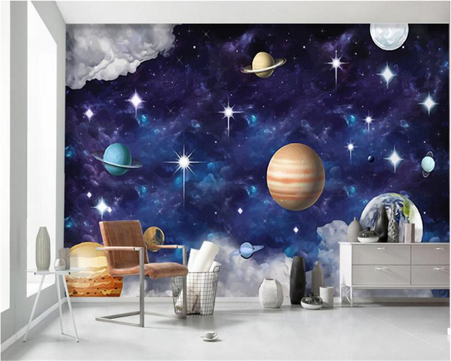 Beibehang Senior Decorative Wallpaper Handwritten Scandinavian Galaxy  Planet Children U0027s Bedroom Bedroom Walls 3d Wallpaper