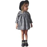 Cute Baby Kid Girls Casual Plaid Dress Long Sleeve Princess Children Clothes