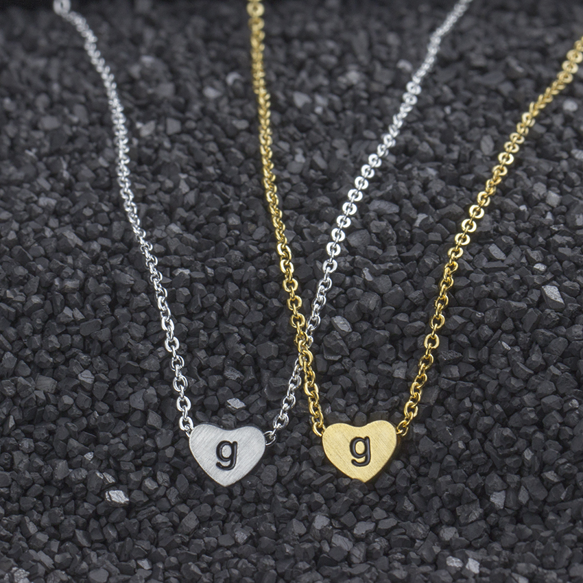gorgeous tale 10pcs delicate letter g h i j k l pendant gold silver color initial heart charm necklace stainless steel