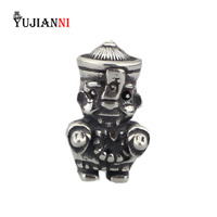 Solid 925 Sterling Silver Jiangshi Beads 4.5mm Hole Charms Fit European Original Troll Bracelet Jewelry