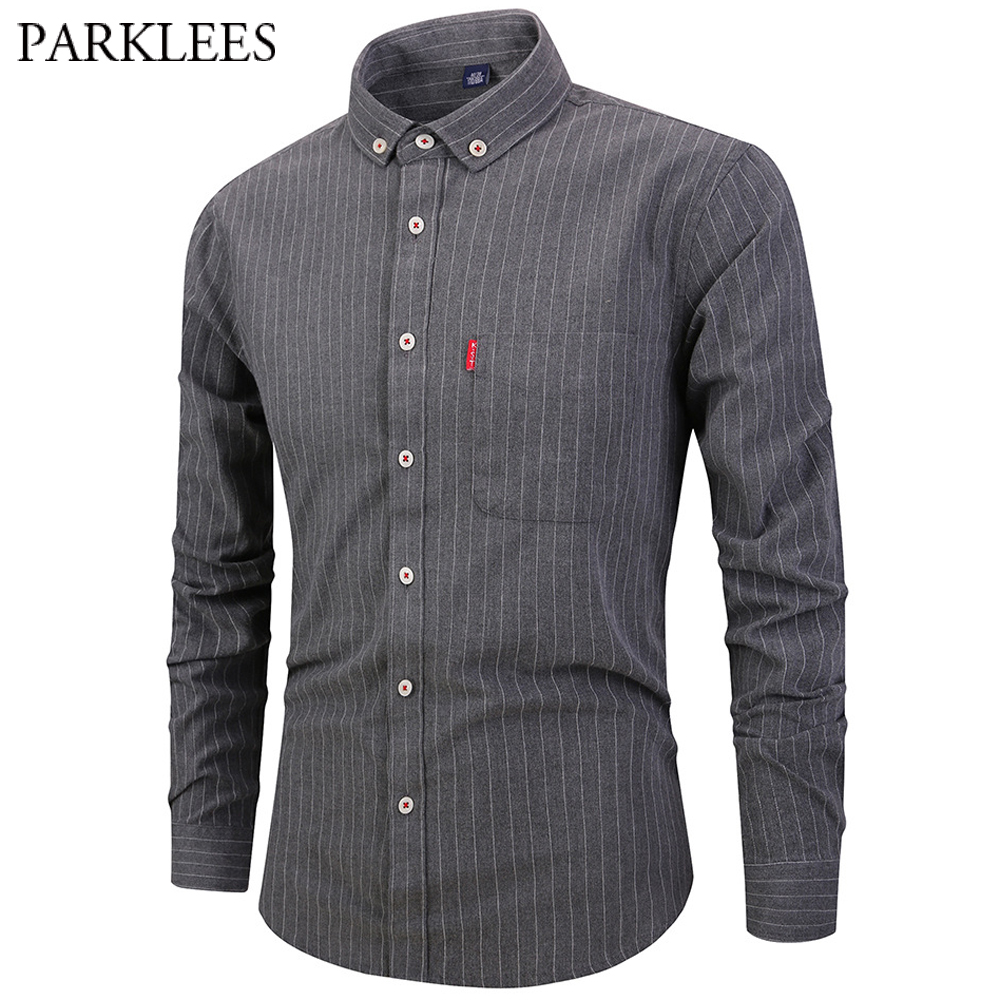 Striped Button Down Dress Shirt Men Casual Square Collar Mens Formal  Business Shirts With Pocket Long Sleeved Chemise Homme 4XL