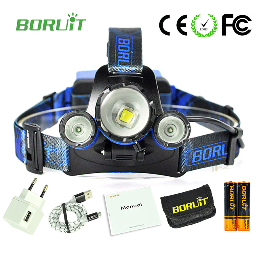 Boruit B22 Blue light zoomable headlamp led lamp Frontal cycling headlight camping light usb rechargeable with battery charger hot waterproof t6 led headlight headlamp for camping hiking rechargeable head lamp light zoomable 4 mode adjust focus light