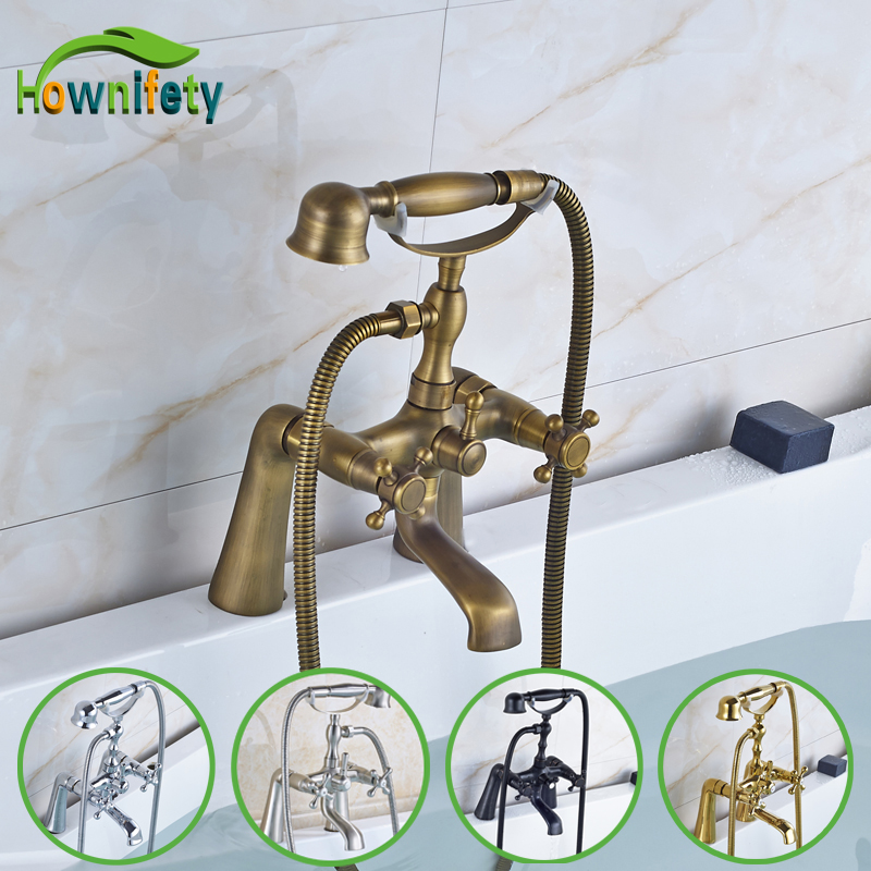 Solid Brass Bathroom Tub Faucet Double Handles Deck Mount Mixer Tap with Handheld Shower