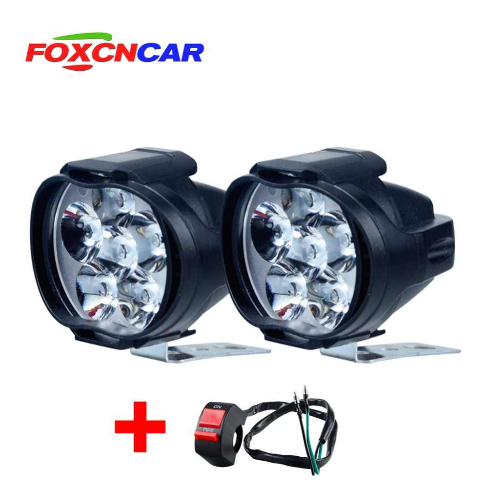 2pcs LED Motorcycle Headlight Driving Fog Spot Head Light Spotlight Assist Lamp Side Mirror Light Switch ATV truck electric car